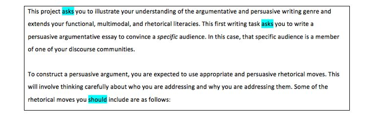 The revised assignment includes negotiated language choices like 'asks' and 'should.'