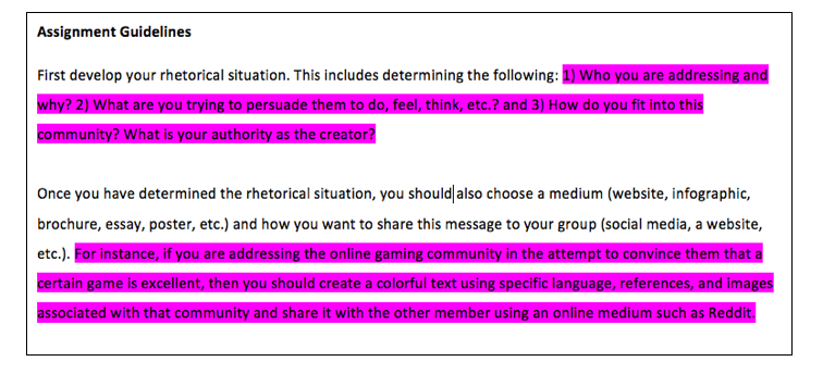 The revised assignment includes questions and examples to help students envision an interactive audience, e.g. 'Who are you addressing' and 'What are you trying to persuade them to do, feel, think, etc?'