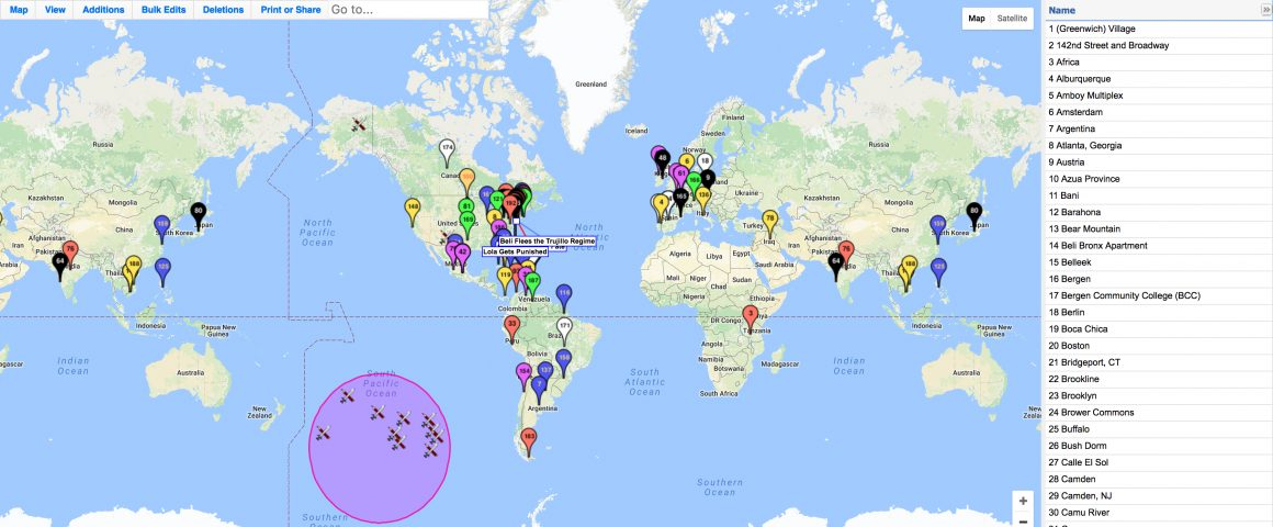 An image of a Google map of earth featuring pins at all the locations mentioned in Díaz's novel.