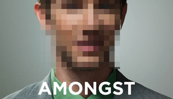 The cover of Amongst Digital Humanists, featuring a photo of a man in a suit with his face blurred by pixelation.