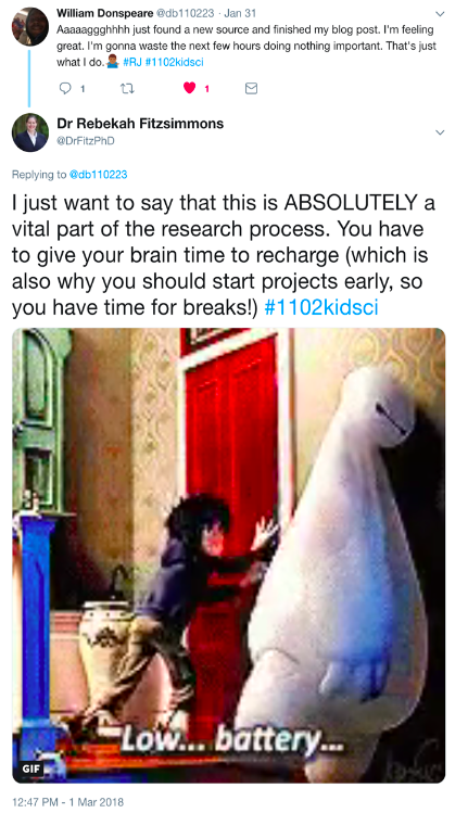 "Exchange on Twitter between student and instructor discussing importance of taking breaks during the research process, which features a gif from Big Hero 6 that reads ""Low...Battery…"""
