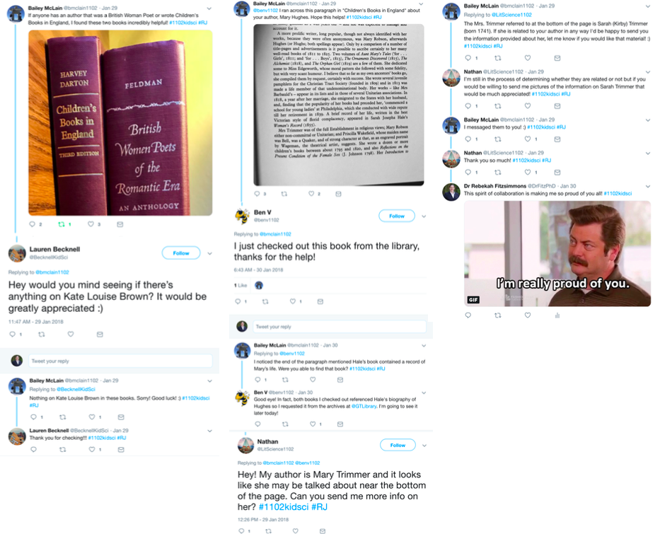 "Extended collaboration Twitter conversation. The first tweet includes a photo of two leather-bound books; the second image includes a photo of text from one of the books that is relevant to a classmate's project. The third tweet responds to the image of text, asking the original poster to send more information about an author mentioned in the body of the text. Additional tweets facilitate sharing information; the final tweet from the instructor includes an image of Ron Swanson from Parks and Recreation nodding in approval and reads ""I'm really proud of you."""
