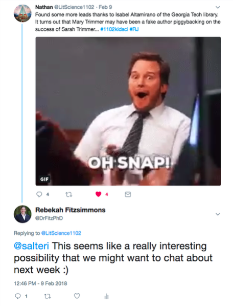 A student tweet about an author accused of adultery, featuring an animated gif of Mr. T, and J. Alexander from America's Next Top Model looking scandalized.
