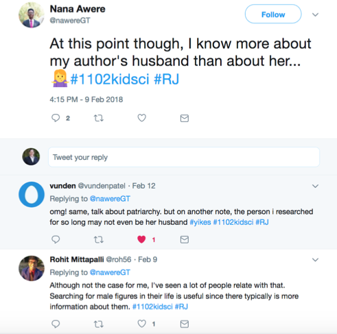 Twitter conversation between students about how they can find more information about women authors' male relatives than the actual authors themselves.