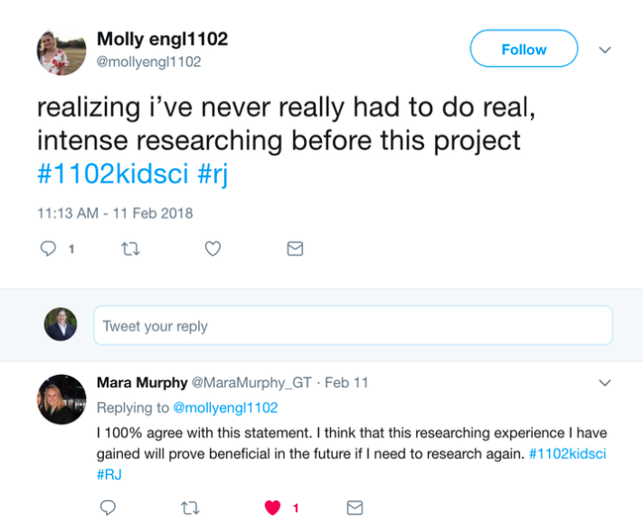 Tweet by a student who said they never had to do real research before this class.
