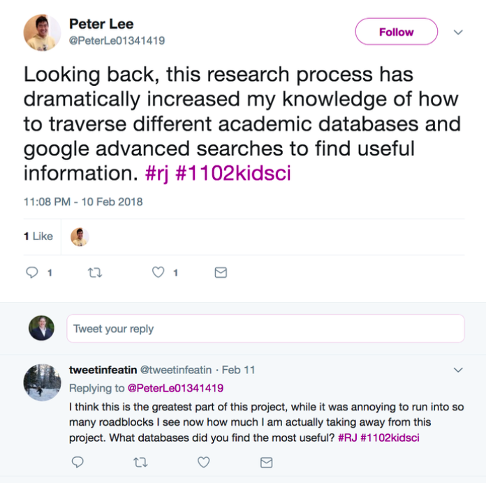 Tweet by a student on how the assignment increased their ability to search online.