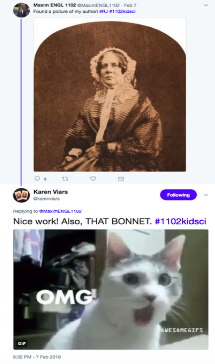 Twitter exchange between student and Georgia Tech librarian celebrating finding a picture of an author. Exchange contains two images, one of author in an elaborate white bonnet. The other of cat with OMG written on it.