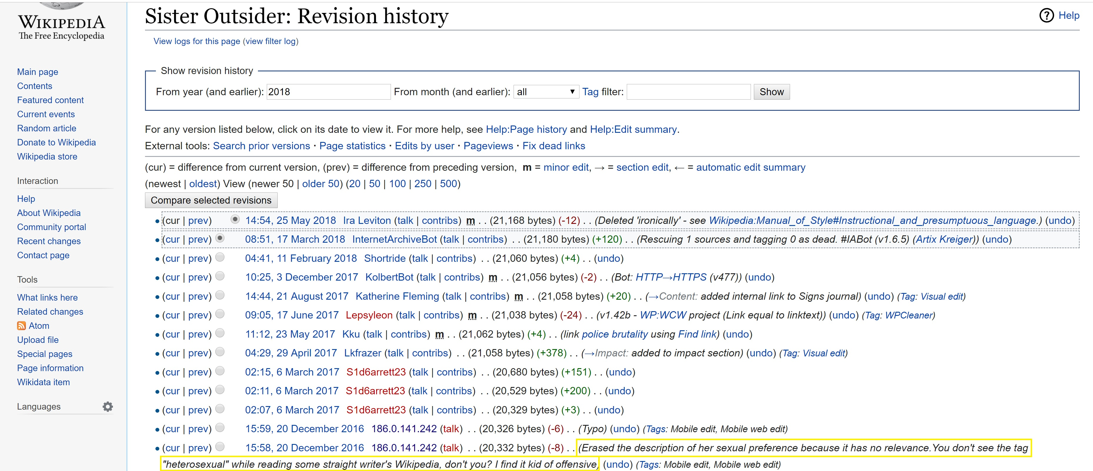 "Screenshot showing the revision history for a Wikipedia article on Audre Lorde's ""Sister Outsider."" A highlighted revision from 20 December 2016 shows an editor's challenge to the inclusion of Lorde's self-described sexuality in the article."