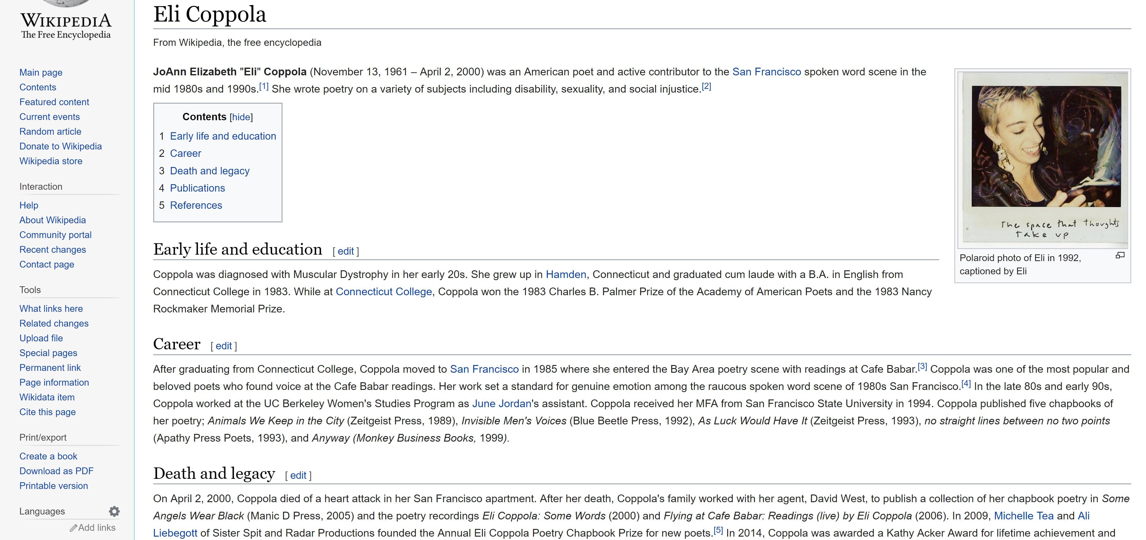 Screenshot of a Wikipedia article featuring poet Eli Coppola.