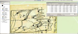 The image shows GIS software where a map drawn by A. B. Williams is being georeferenced using coordinates of features that are still currently visible in the landscape. These features include trails, bridges, buildings, and select trees.