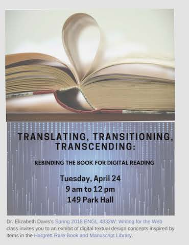 Title reads 'Translating, Transitioning, Transcending: Rebinding the book for digital reading.'