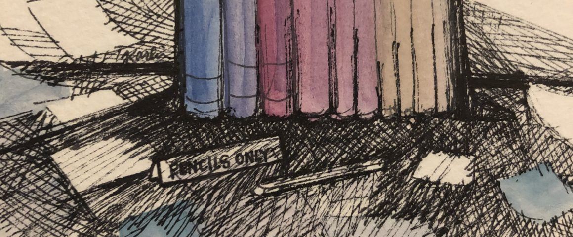 "Watercolor showing bookstack with notes scattered nearby. A sign reads ""pencils only."""