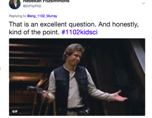 Twitter exchange between instructor and student about how one author was connected to the British royal family but could find no biographical information on her. One tweet also has a picture of Han Solo from the movie Star Wars.