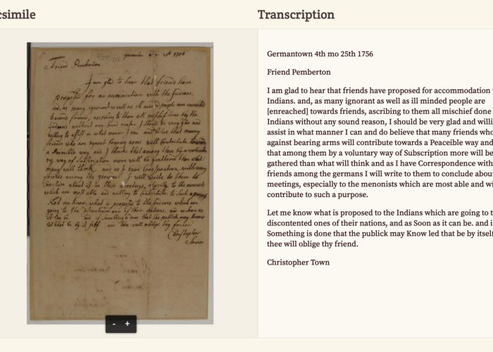 A scan and transcription of a letter from Christopher Town.