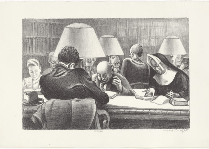 1939 cartoon of caricatures at the NYPL reading room