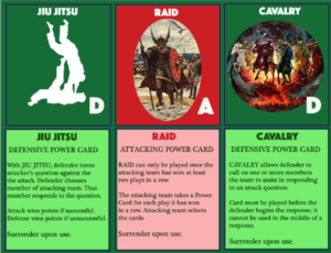 Jiu Jitsu and Calvary defense playing cards, in addition to Raid attack playing card.