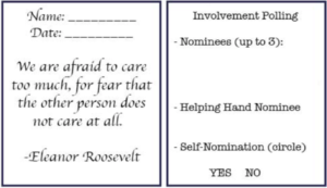 Sample attendance and involvement card featuring a quote by Eleanor Roosevelt: We are afraid to care too much, for fear that the other person does not care at all.