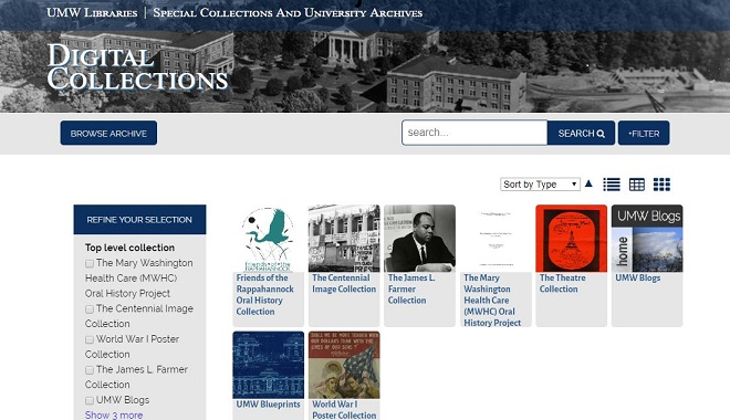 Screenshot of University of Mary Washington Libraries Digital Collections homepage.