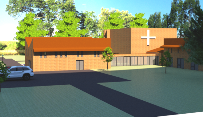 Final rendering of 3D model of Bethel Seminary.