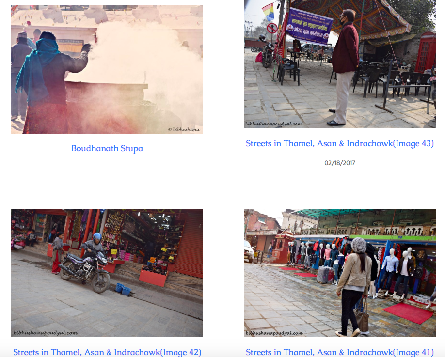 "Figure 2: The image depicts the landing page of our digital archive. Four pictures of the streets in Kathmandu are positioned in block format and labeled, Boudhanath Stupa,"" and ""Streets in Thamel, Asan, & Indrachowk."""
