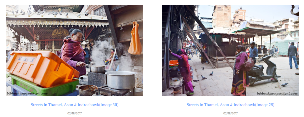 Figure 5: Two side-by-side images depict women at an early morning coffee stall at San market and walking through its residential square