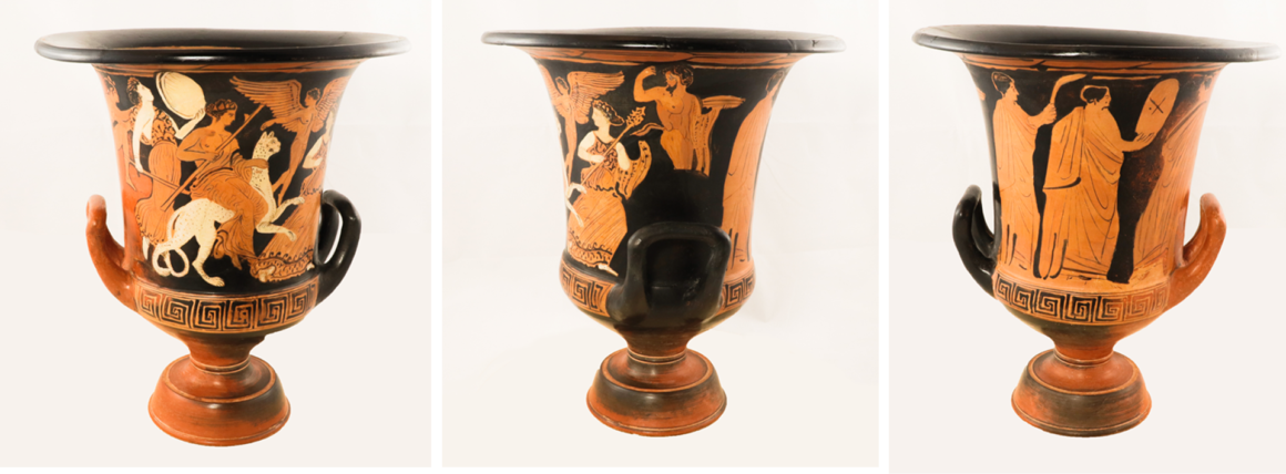 Three images depicting the Calyx krater displayed at three rotated angles