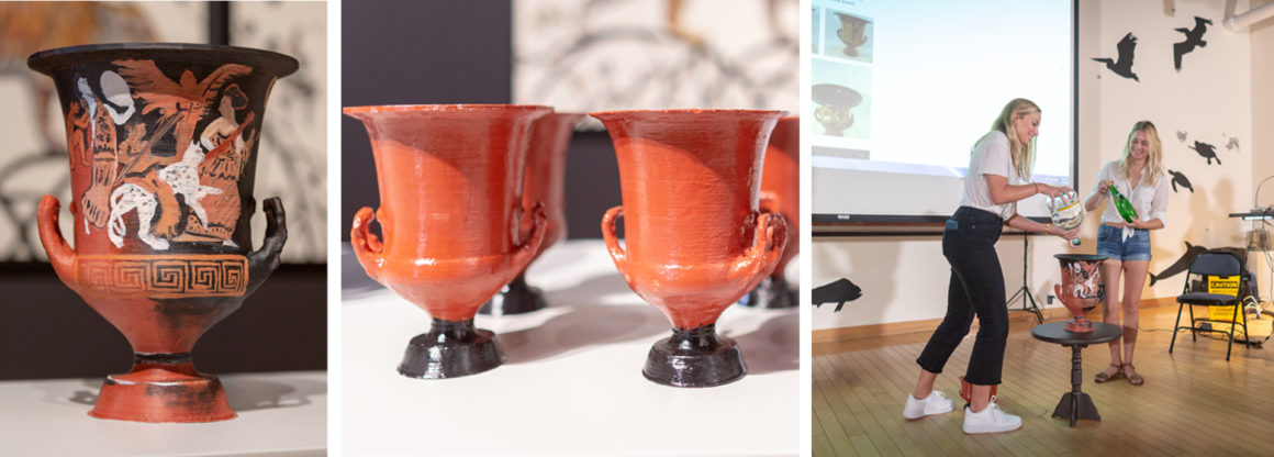 Three images depicting a full-scale 3D printed calyx krater decorated, multiple small-scale 3D printed calyx kraters in red and black, and students demonstrating the pouring of water in the krater.