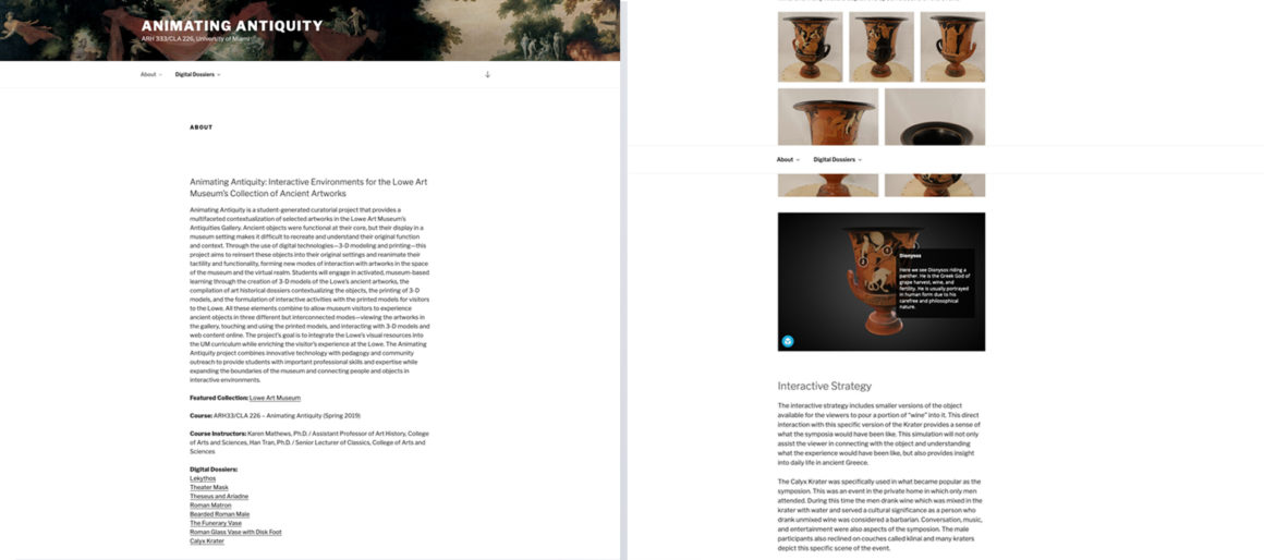 Project homepage including the project overview next to the calyx krater page depicting a gallery, interactive 3D model, and text.