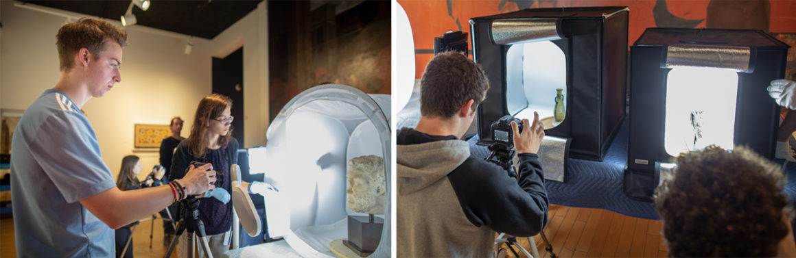 Two images depicting students taking photos of artefacts within the museum, while museum staff observe.