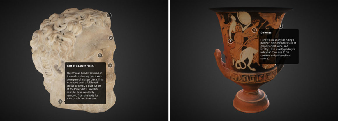 3D digital models of the bearded roman and calyx krater objects captured with numbered annotations.