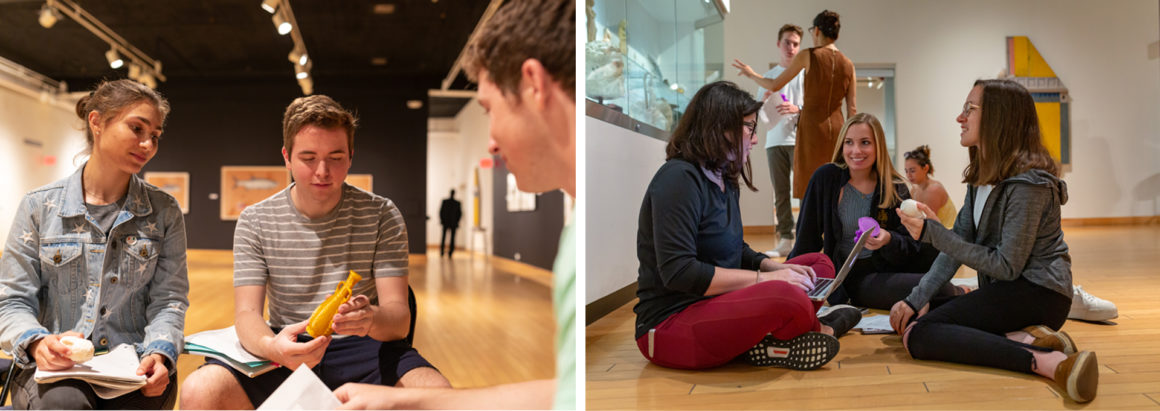 Two images depicting multiple students and faculty sitting in the museum, talking and handling 3D prints of antiquities.