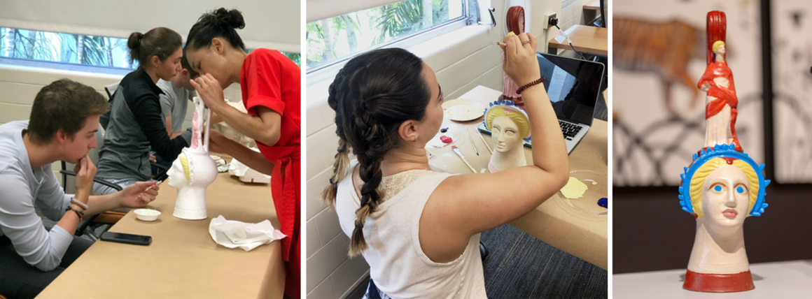 Two images depicting the process of students and faculty painting the Canosan vase using primary colors. One final image presents the finished object painted in blue, red and yellow.