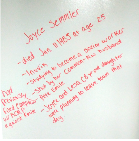 This image lists the biographical information students located about Joyce Semmler displayed on a dry erase board.