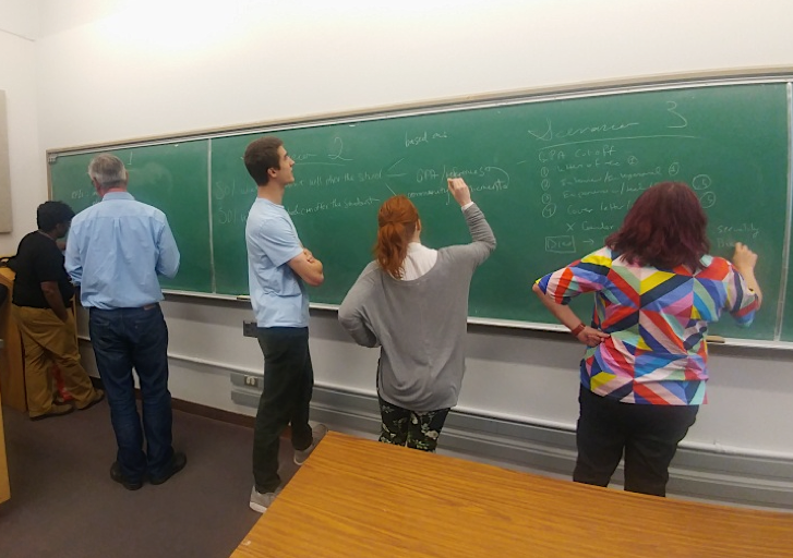 This photograph shows several students from behind, collaborating on the DHSI privacy plan by writing on a chalkboard.