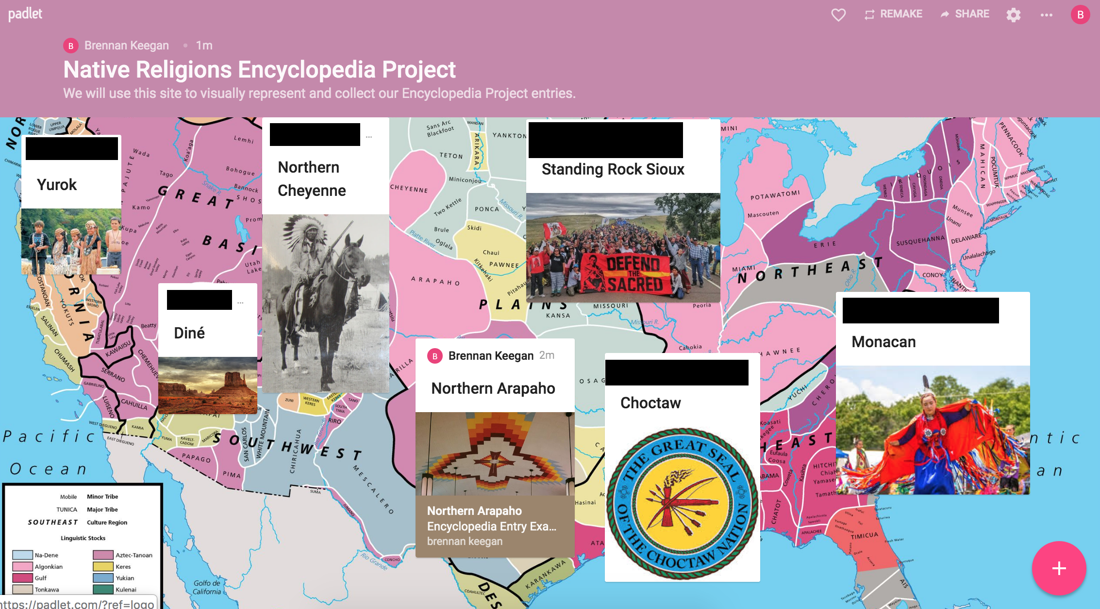 Clickable images connect all student work to a central Padlet homepage