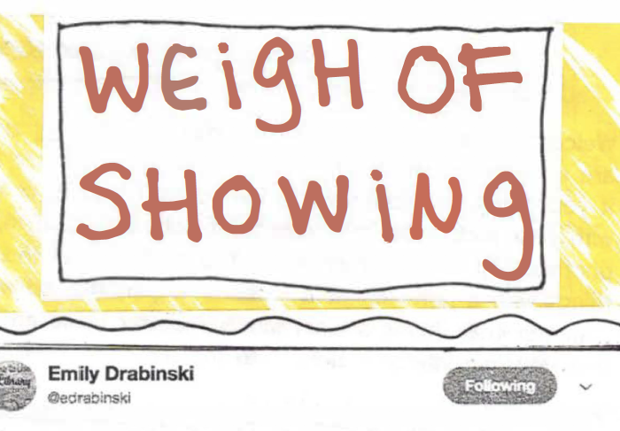"A hand-drawn zine cover, with ""Weigh of Showing"" written as a title in red, and the beginning of a tweet by Emily Drabinski cut out and pasted below."