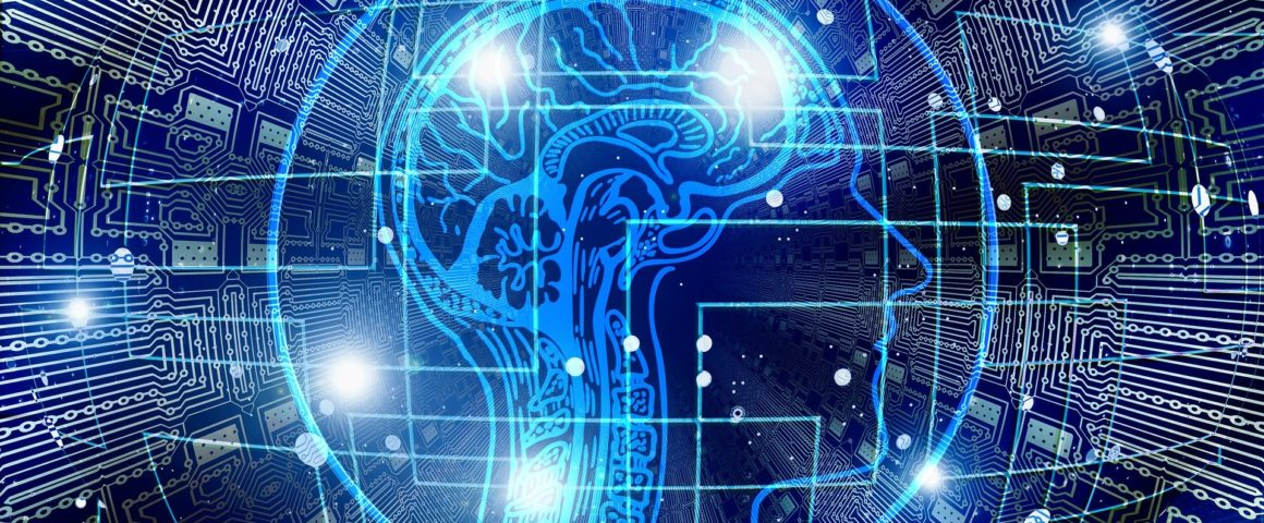 A cross-section of a brain appears in blue light over a dark background, with nodes and lines of light giving the impression of interlinked computer circuits.