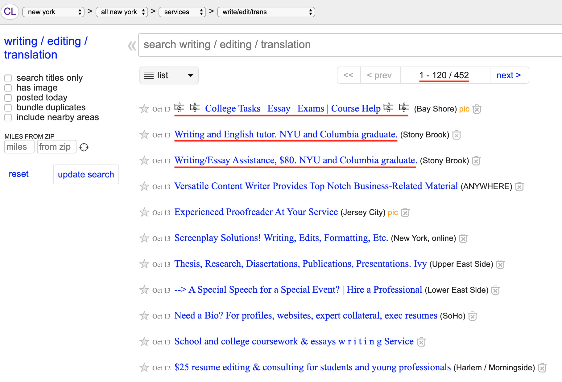 A screenshot from the Writing / Editing / Translation section of Craigslist, showing various offers and prices.