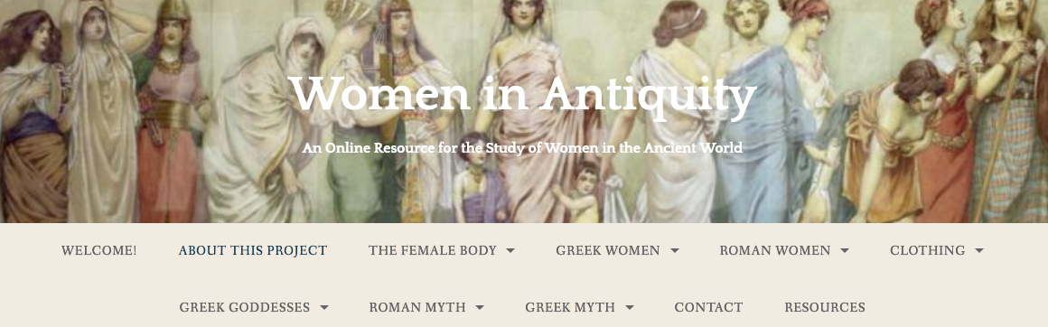 A banner for a student website, featuring a menu below a 19th century painting of many women in Graeco-Roman antiquity.
