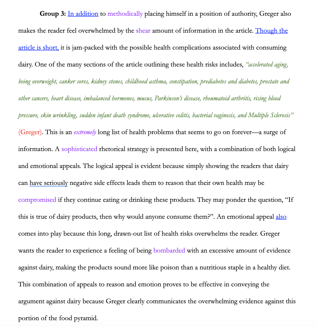 This image shows a screenshot of a color-coded paragraph from a rhetorical analysis essay, with the citations in red, quotations in green, transition words in underline, and vocabulary in purple