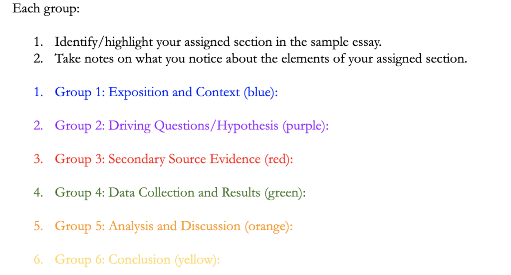 This image shows a screenshot of instructions for annotating the research essay; each group is assigned a different section to identity and annotate.