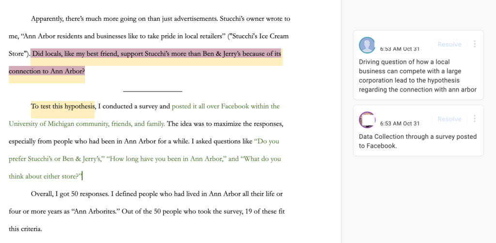 This image shows a screenshot of a highlighted section of the research essay; students' annotations comment on the driving question and data collection.