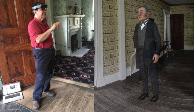 Left, User testing the system with HoloLens headset in the historic home. Right, What the user sees through the HoloLens.