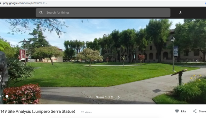 360° photograph of Junipero Serra statue and campus lawn, displayed in Google Tour Creator interface with digital annotation icons.