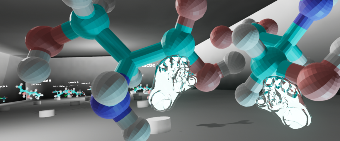 Screenshot of the Chirality VR experience displaying two 3D models being manipulated by virtual hands.