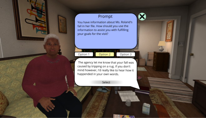 An interior living room area with sofa, coffee table, wall hangings and rugs seen in the background. The virtual client is seen sitting on the couch. Dialogue prompts and options are shown.