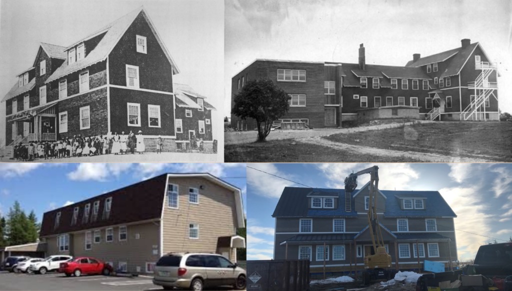 Figure 1: Photographs of the buildings of the Nova Scotia Home for Colored Children in 1961, 1921, 1978, and 2019.
