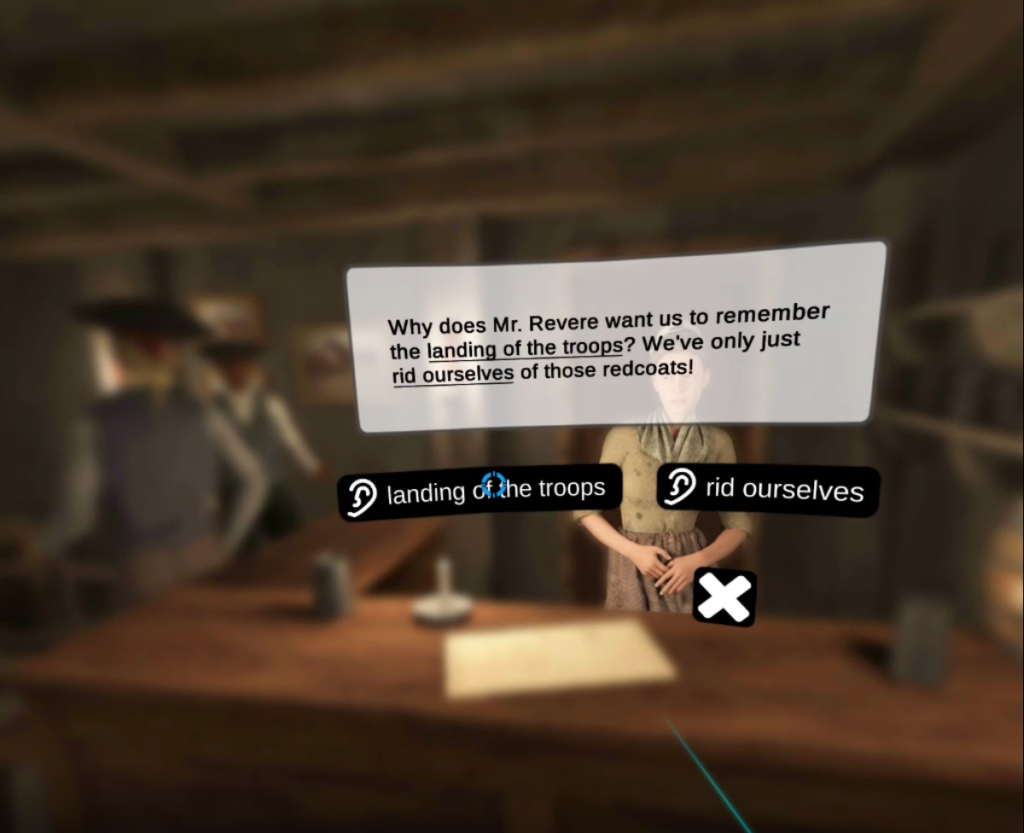 In the center of the frame, a textbox contains the transcription of a Mind Meld with the tavern keeper. Below the text are two prompts labeled with an ear, inviting the student to listen further to one of the options.