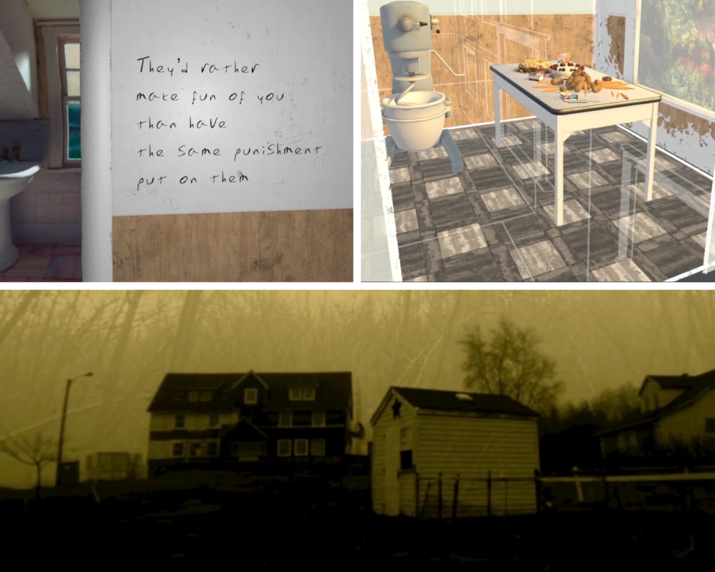 "Figure 5. Morrison's story, ""Swamp Water"" (top left) shows 3D graphics blended with 2D video and 360-degree video in a bathroom interior. Dorrington-Skinner's story, ""Mrs. Johnson's Helper"" shows a kitchen with partially transparent walls. Smith's story, ""The Switch"" (bottom) shows different video sequences layered over one another."