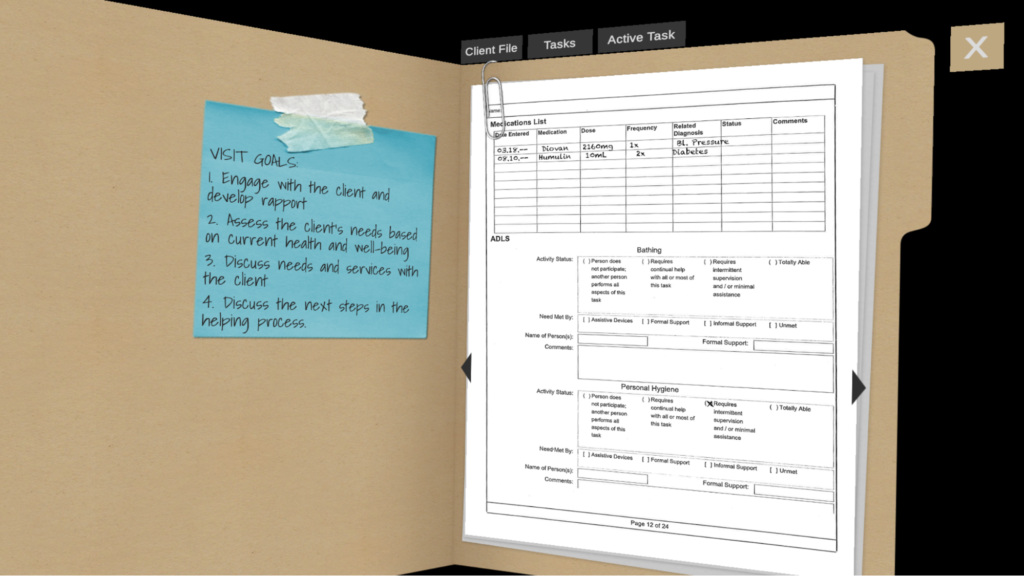 Image shows an open file folder with a post-it note on the left side with the visit goals itemized. On the right side of the file folder, there is an image of an assessment form with client information.